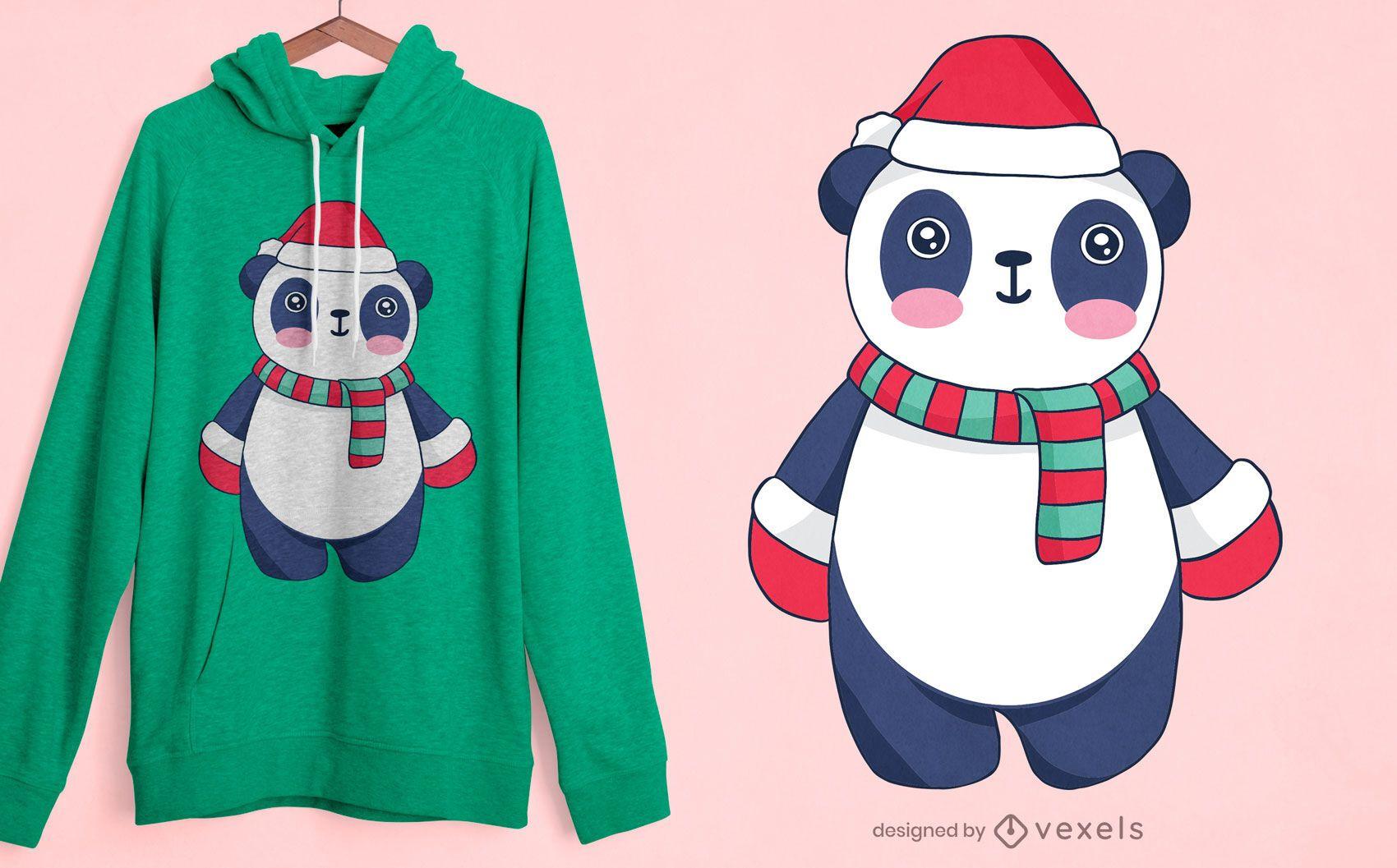 Lindo dise?o de camiseta de panda navide?o