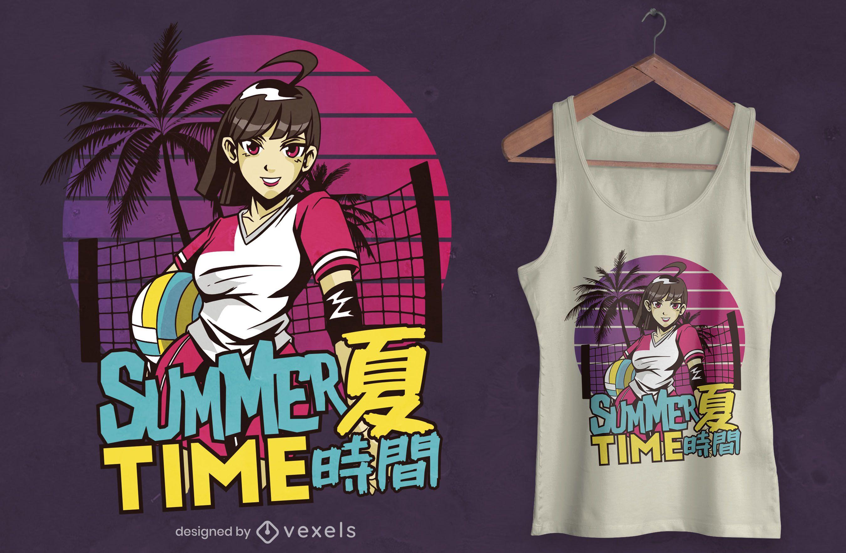Diseño de camiseta de anime de horario de verano.