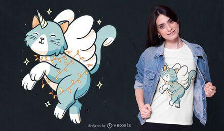 Design de camiseta de gato unicórnio
