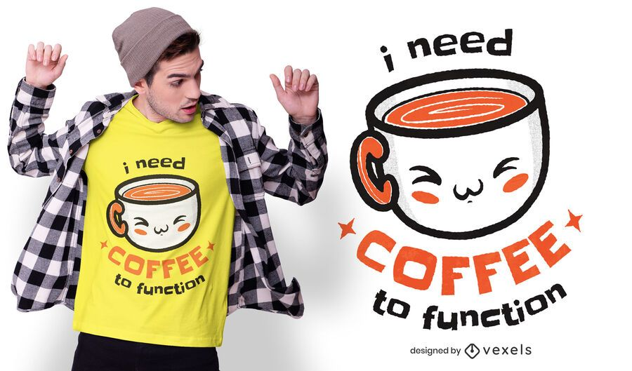 Diseño de camiseta de cita de café lindo