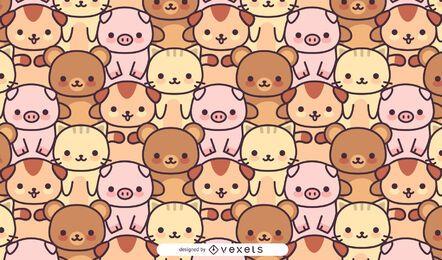 Diseño de patrón de animales kawaii