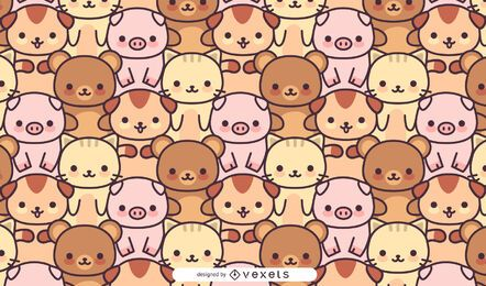 Kawaii animals pattern design