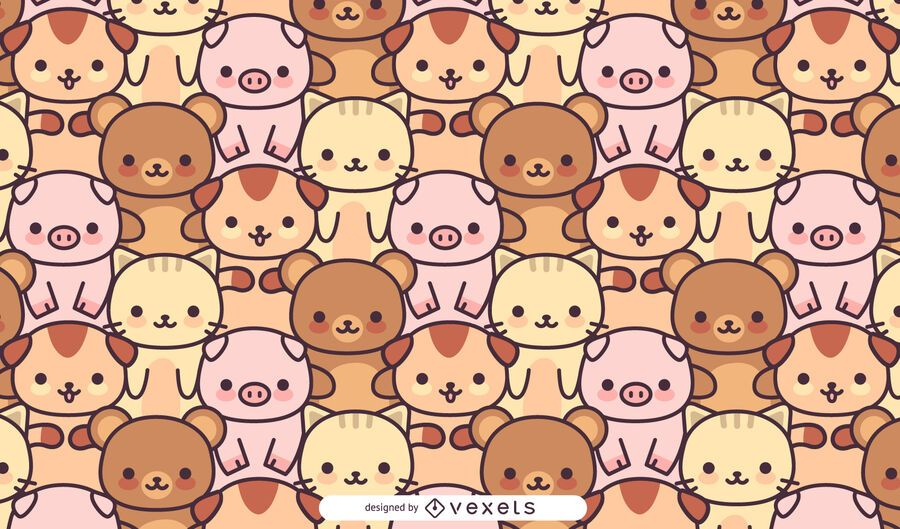 Kawaii animals pattern design