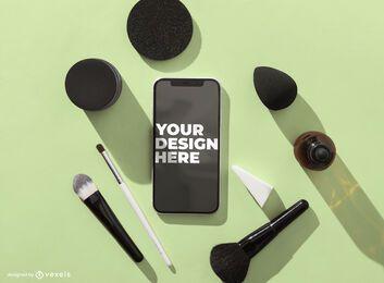 Composición cosmética de maqueta de iphone