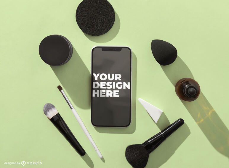 Composição de maquete de iphone cosmético