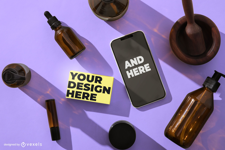 Composición de maqueta cosmética de iphone psd