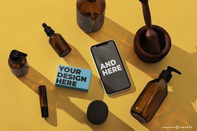 Composição de psd de maquete de iphone cosmético