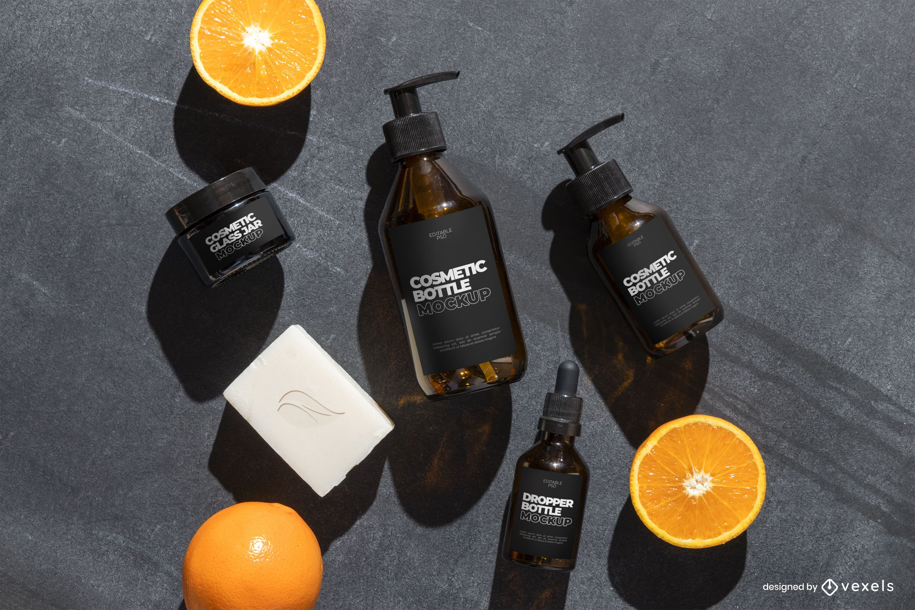 Cosmetic bottles mockup psd composition