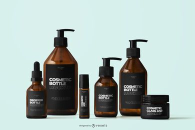 Composición de maqueta de belleza de botellas cosméticas