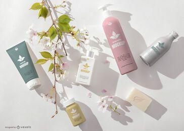 Composición de maqueta de spa de botellas cosméticas