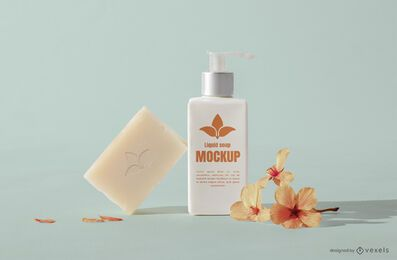 Spa soap and bottle mockup composition