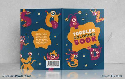 Diseño de portada de libro para colorear de criatura