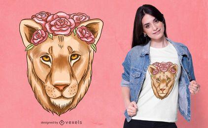 Desenho de t-shirt em aquarela de leoa