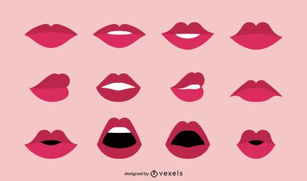 Flat lips illustration collection