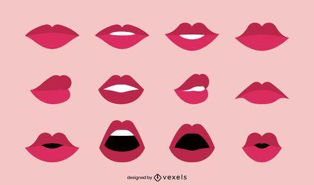 Illustrationssammlung der flachen Lippen