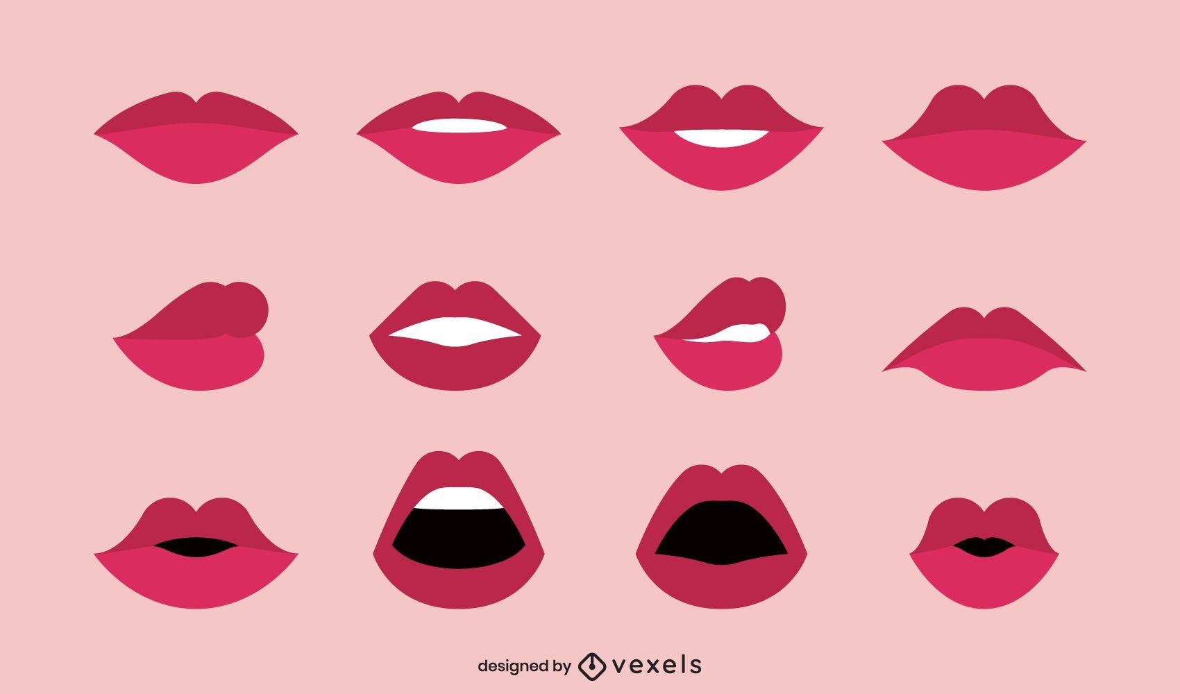 Colección de ilustración de labios planos