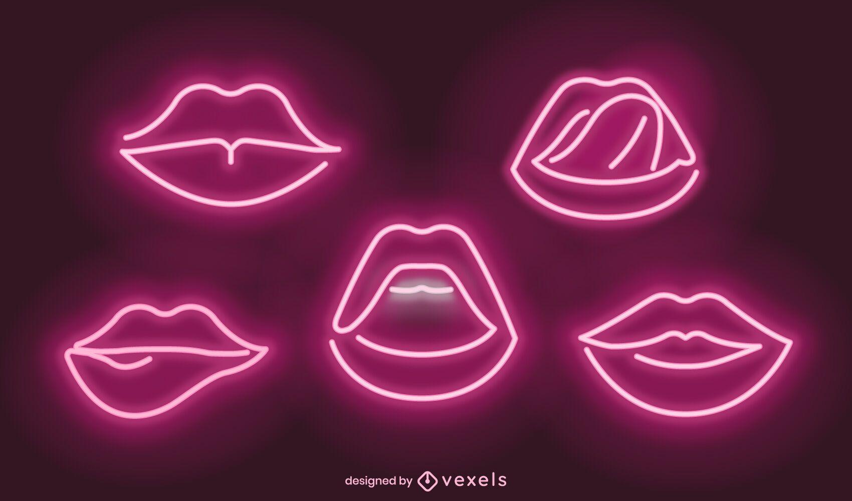 Neon lips illustration set