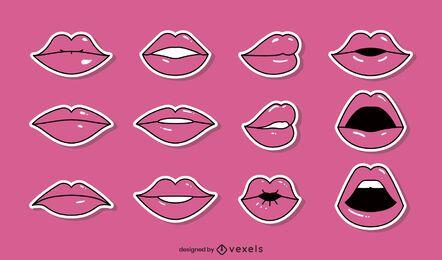 Colección de vectores de labios cómicos