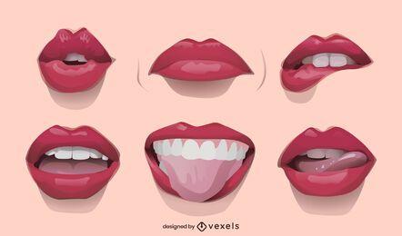 Conjunto de ilustração de lábios realistas