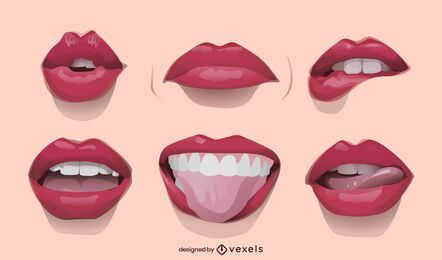Realistic lips illustration set