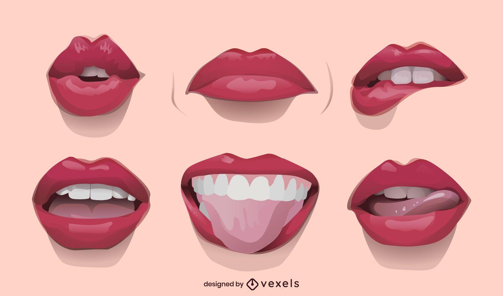 Realistic lips illustration set