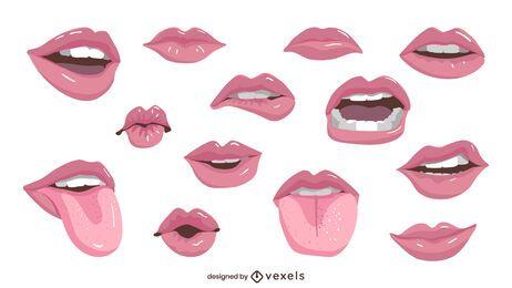 Illustrationsset für glänzende Lippen