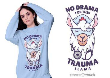 Diseño de camiseta de enfermera llama