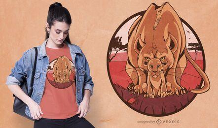 Diseño de camiseta de leona y cachorro