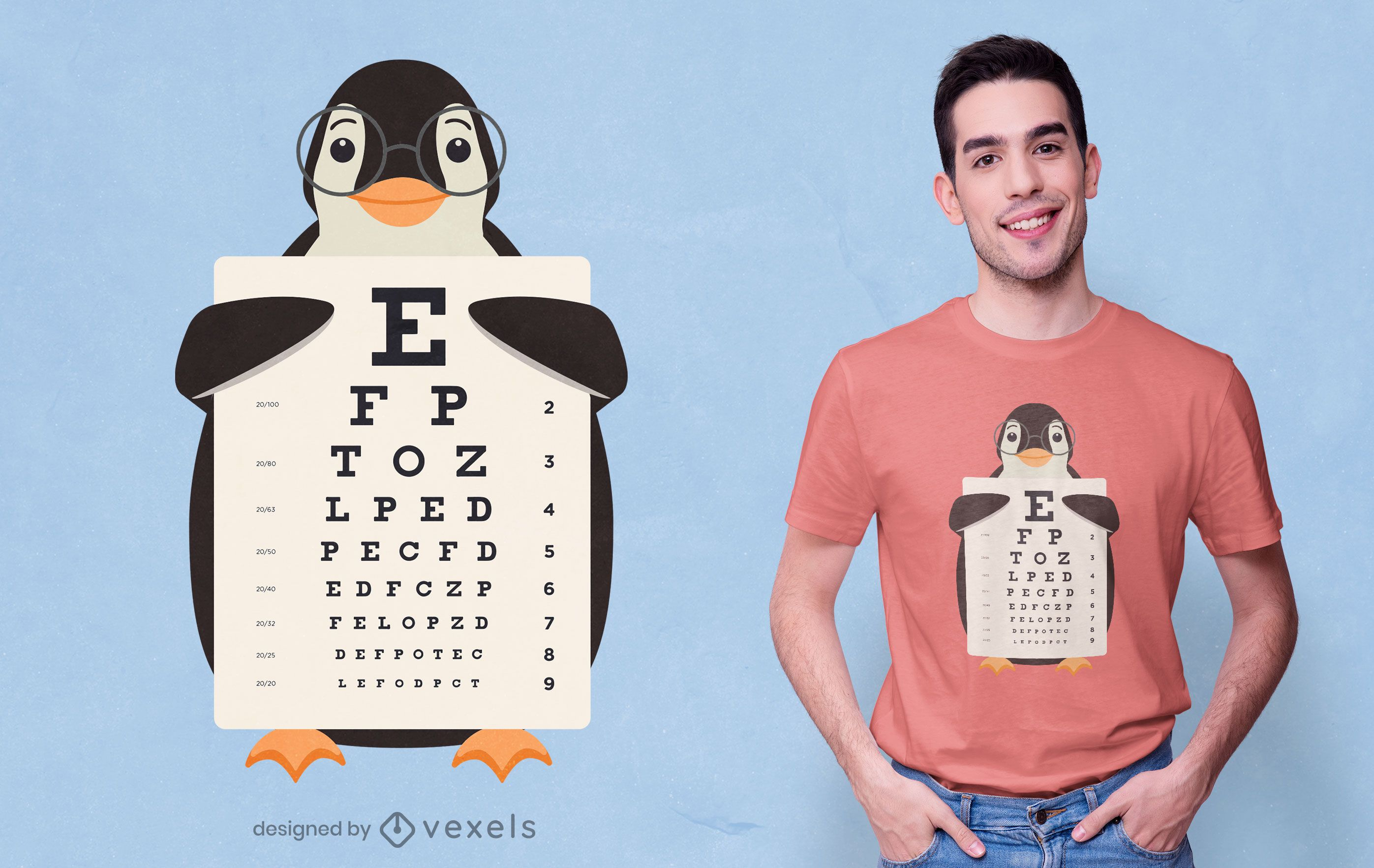 Diseño de camiseta de gráfico ocular de pingüino
