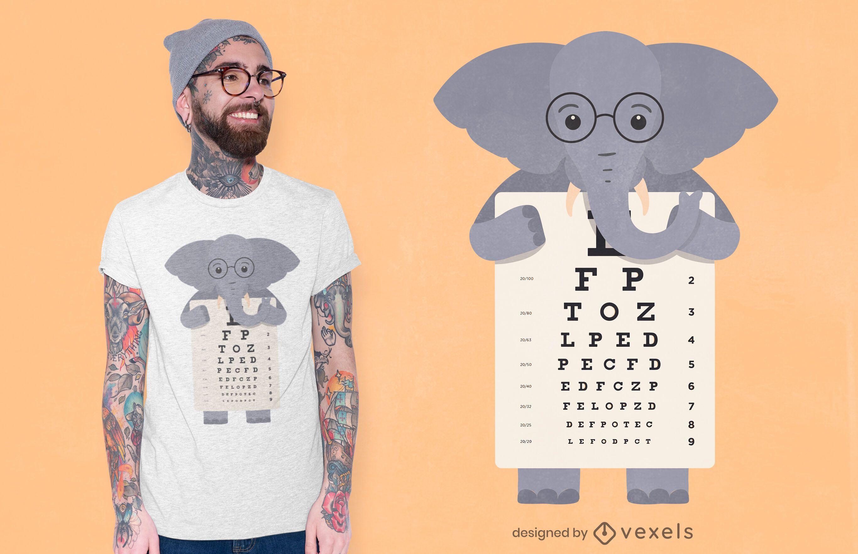 Diseño de camiseta de gráfico ocular de elefante