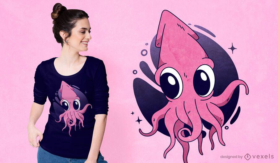 Diseño de camiseta de calamar lindo