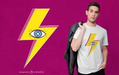 Diseño de camiseta de ojo de perno de iluminación.