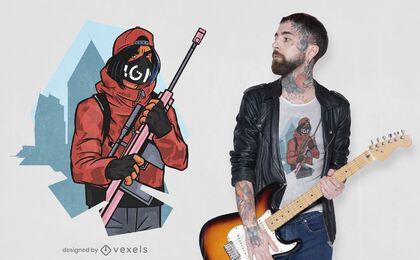 Diseño de camiseta de personaje de rifle.