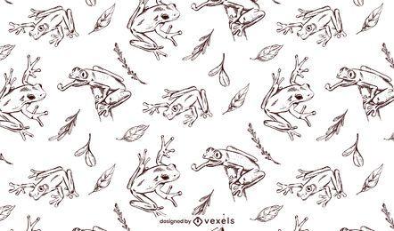 Desenho de padrão de sapo desenhado à mão