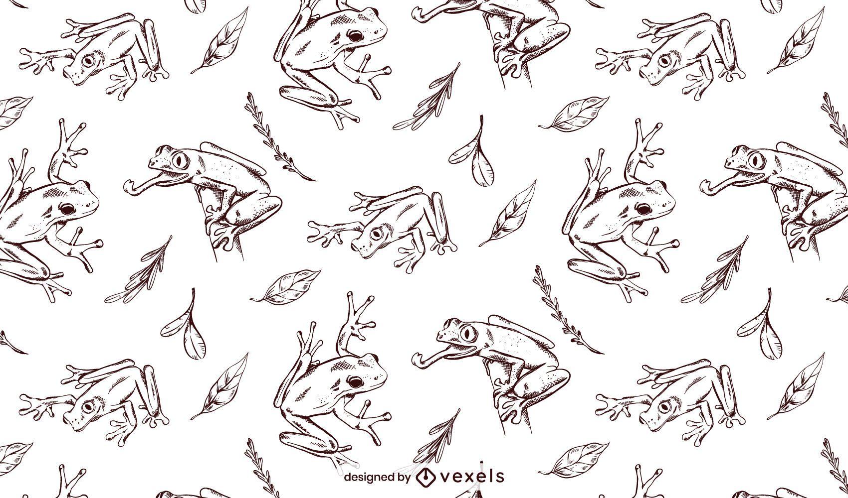 Diseño de patrón de rana dibujada a mano