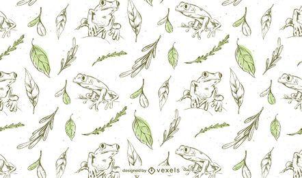 Design de padrão desenhado à mão de rãs