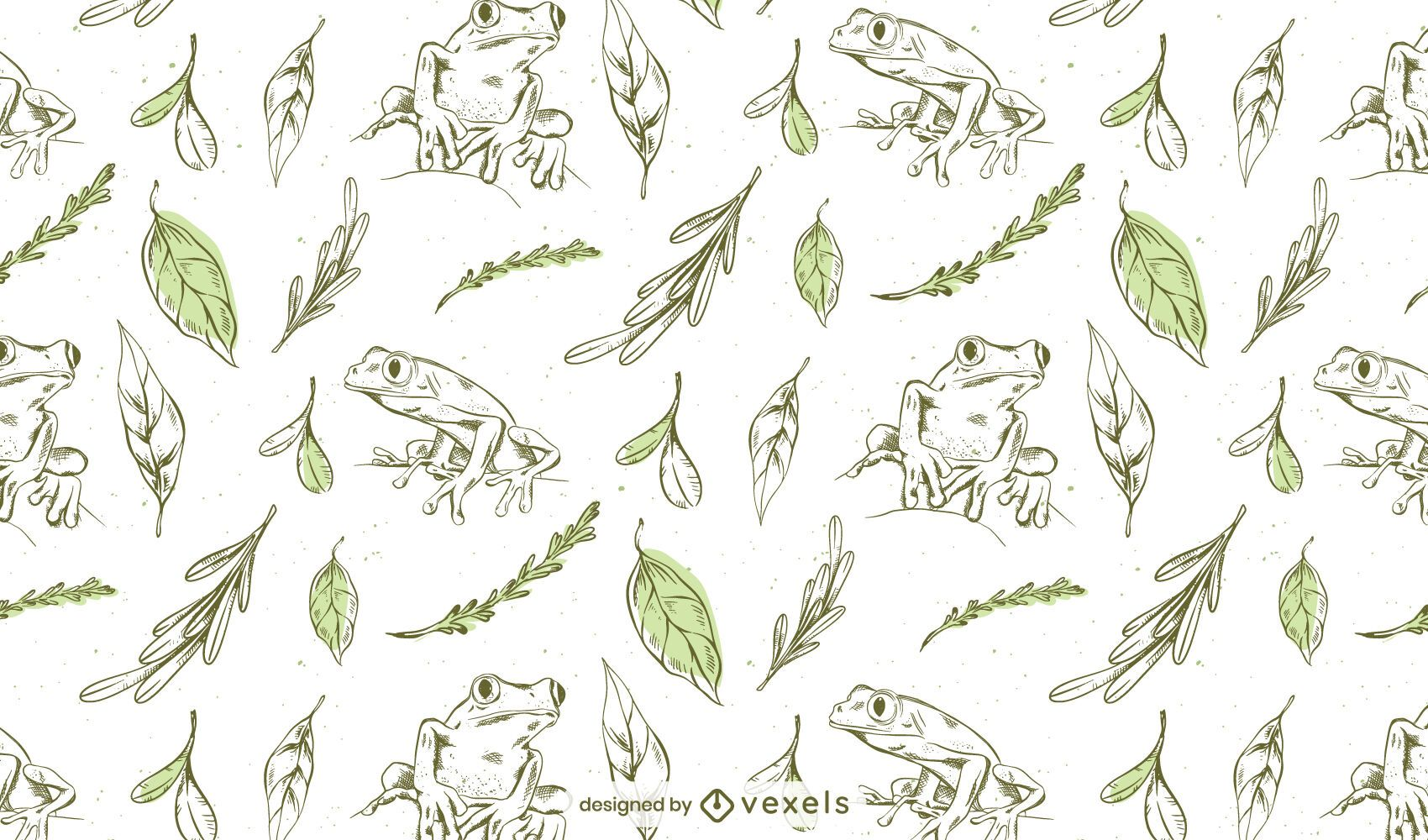 Frogs hand drawn pattern design