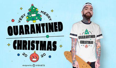 Diseño de camiseta navideña en cuarentena