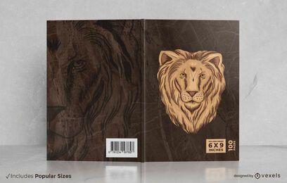 Diseño de portada de libro de león salvaje