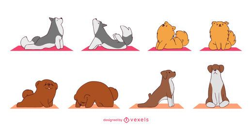 Cute yoga poses dog set