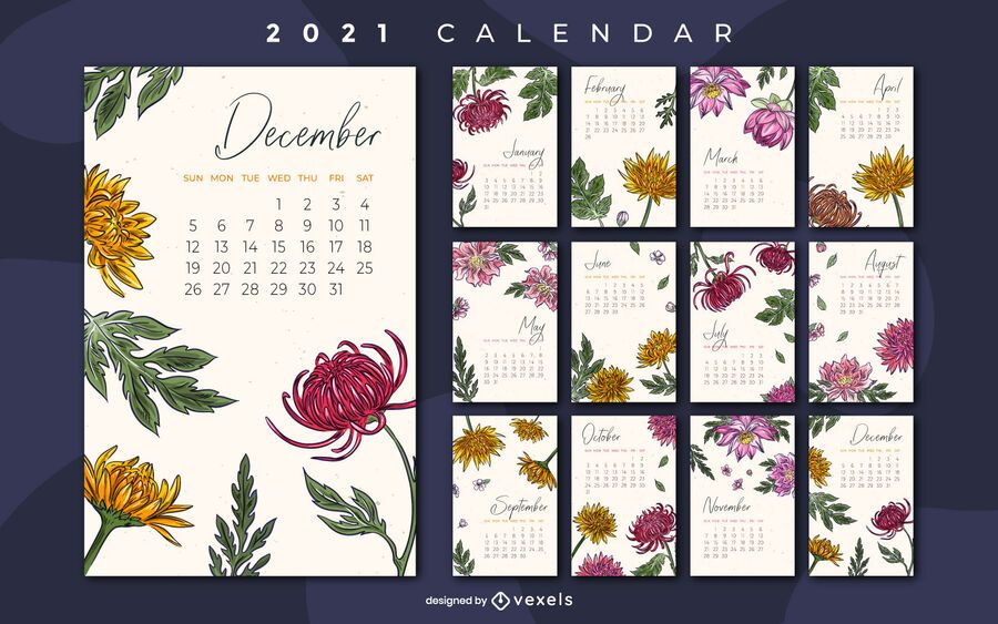 Diseño de calendario floral 2021