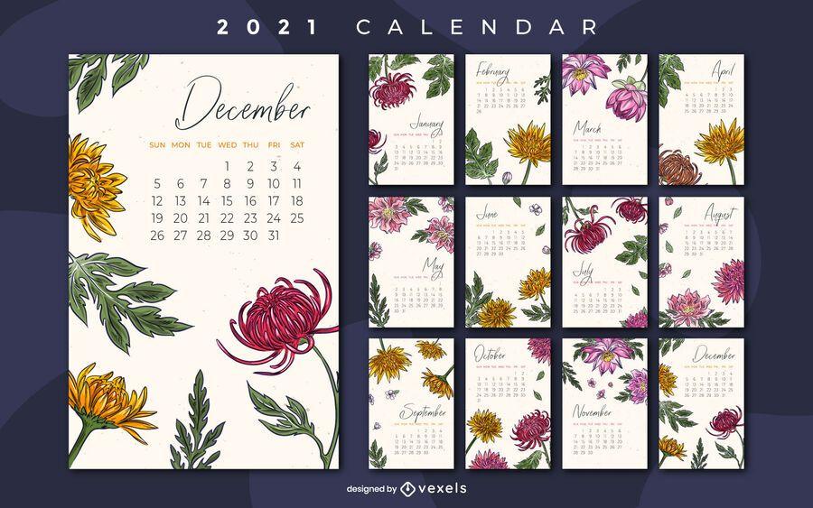 Floral 2021 calendar design