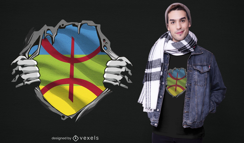 Diseño de camiseta de bandera étnica bereber.
