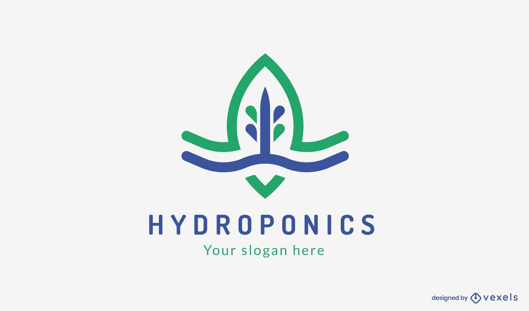 Modelo de logotipo da hidroponia