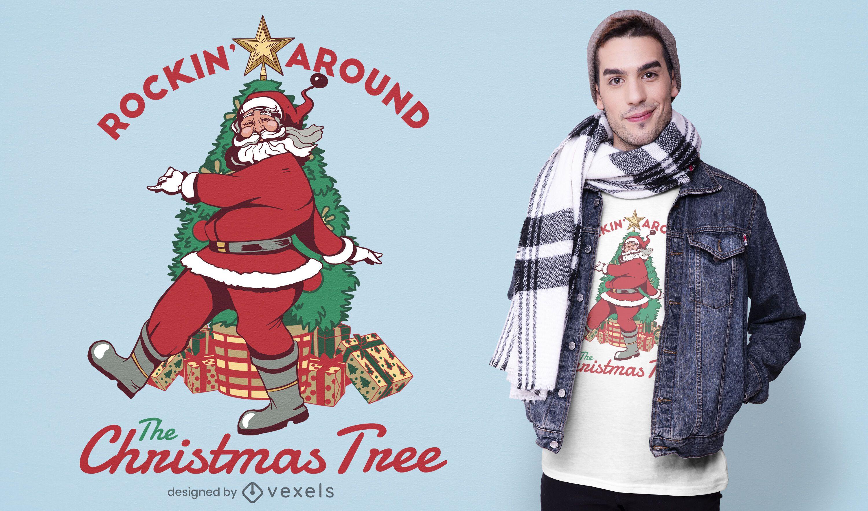Design de t-shirt Rockin Papai Noel