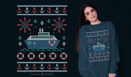 Nautical ugly sweater t-shirt design