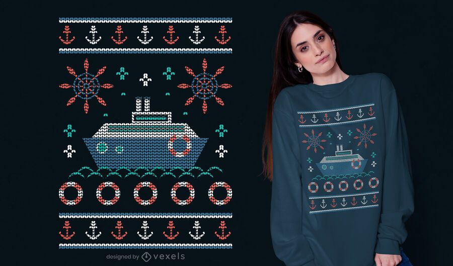 Nautical ugly sweater t-shirt design