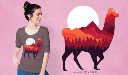Design de camiseta de alpaca da floresta