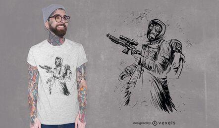Diseño de camiseta de tirador dibujado a mano