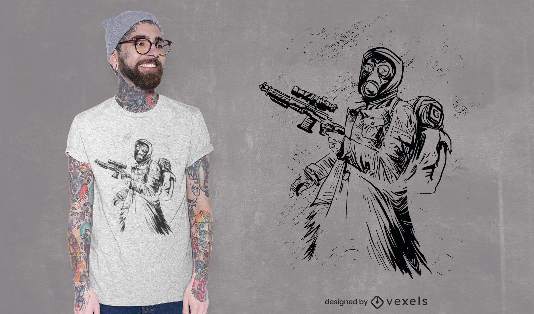 Hand drawn shooter t-shirt design